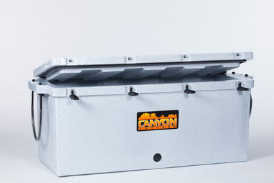 200 quart cooler angled view partial open