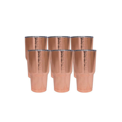 six copper tumblers
