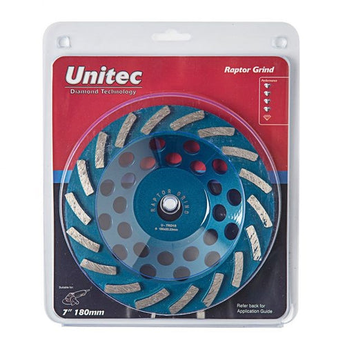 UNITEC 180MM DIAMOND GRINDING CUP SPIRAL