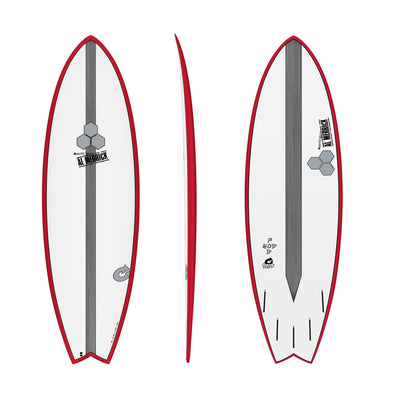 CHANNEL ISLAND 5'10 POD MOD WHITE- RED RAILS - Nauset Surf Shop