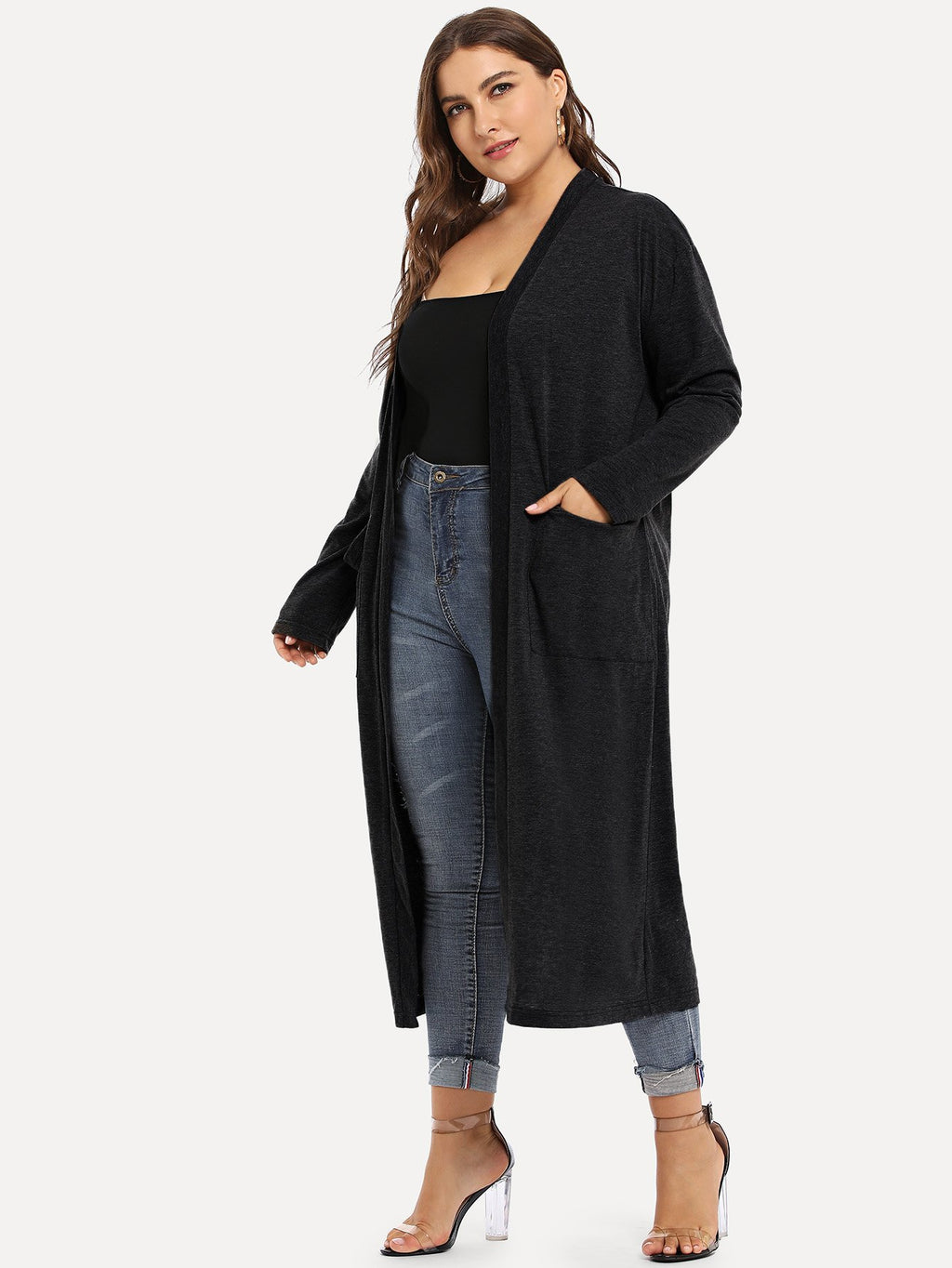 Plus Pocket Detail Solid Longline Coat-Sunshine's Boutique & Gifts