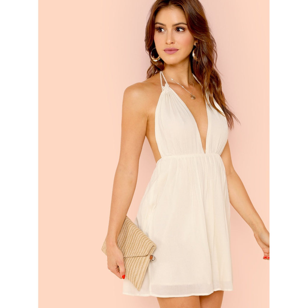Open Back Plunging Halter Neck Dress-Sunshine's Boutique & Gifts
