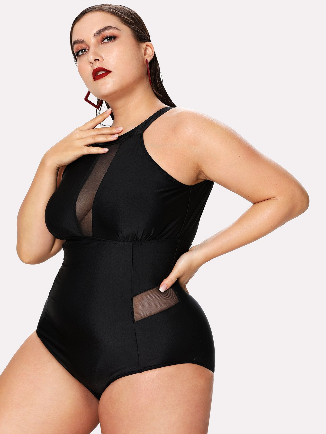 Plus Mesh Panel High Neck Swimsuit-Sunshine's Boutique & Gifts