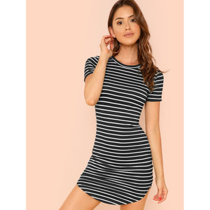 Striped Curved Hem Dress-Sunshine's Boutique & Gifts