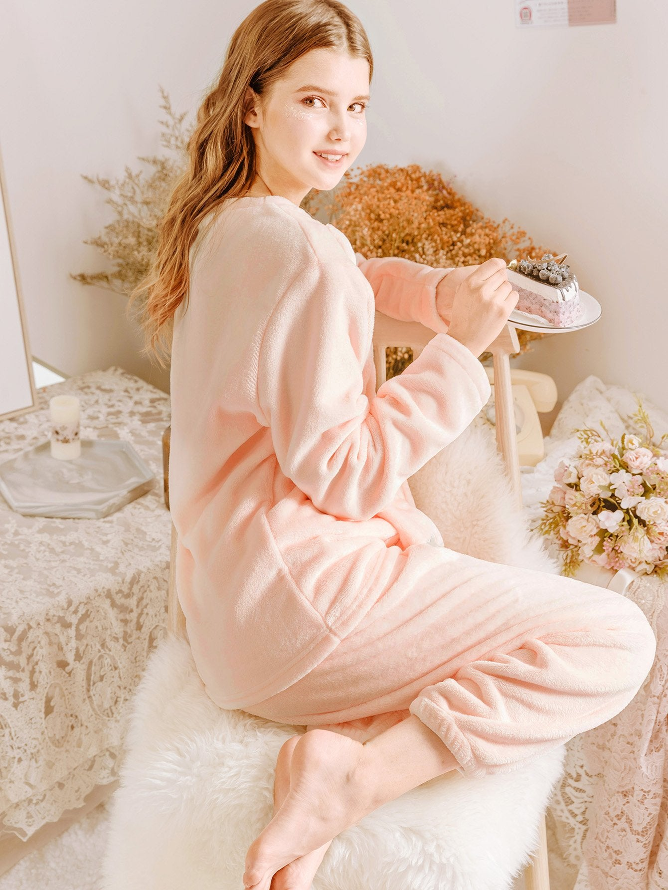 Cat Embroidered Plush Pajama Set-Sunshine's Boutique & Gifts