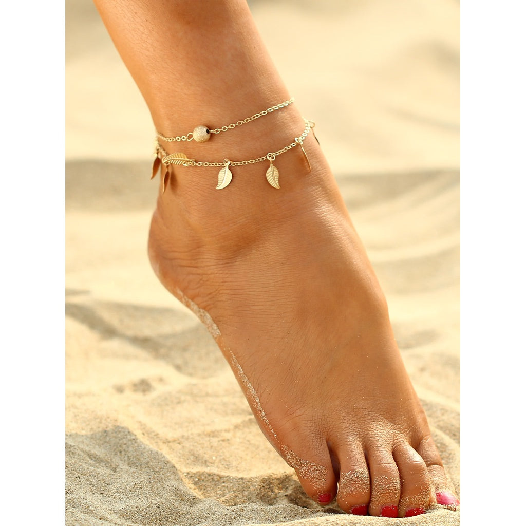 Metal Leaf Decorated Chain Anklet-Sunshine's Boutique & Gifts