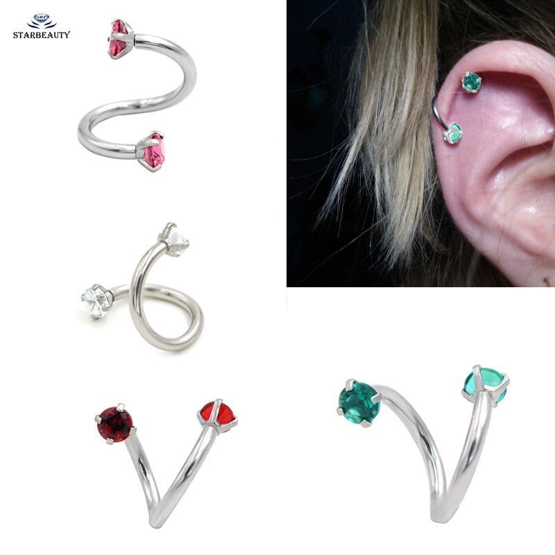 1 PC S Shape Twisted Helix Cartilage Earring-Sunshine's Boutique & Gifts