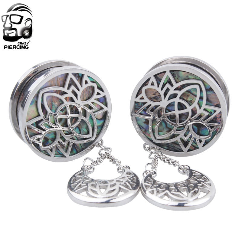 1 Pair 8mm-25mm Fashion Surgical Steel Crystal Dangle Screw Ear Plug-Sunshine's Boutique & Gifts