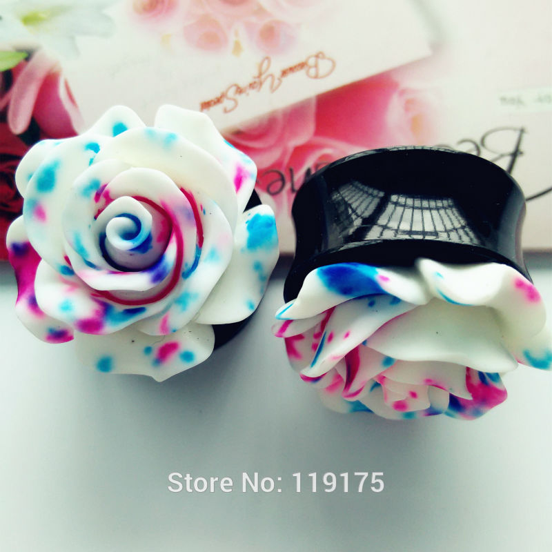 1 Pair Blue Floral Rose Ear Plug-Sunshine's Boutique & Gifts