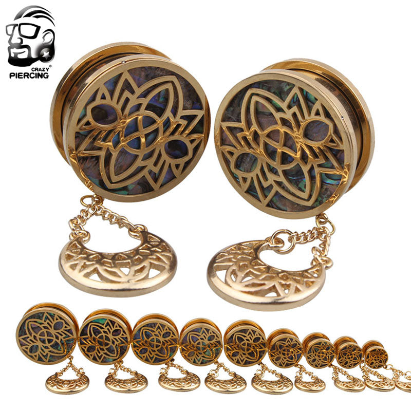 1 Pair Fashion Gold Surgical Steel Dangle Sea-shell Ear Plug-Sunshine's Boutique & Gifts