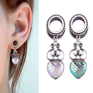 Love Heart Mermaid Dangle Ear Plugs-Sunshine's Boutique & Gifts