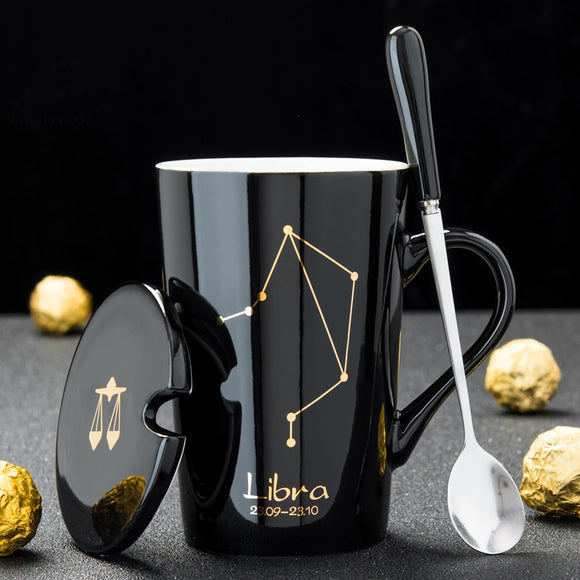 12 Constellations Creative Ceramic Mugs with Spoon & Lid