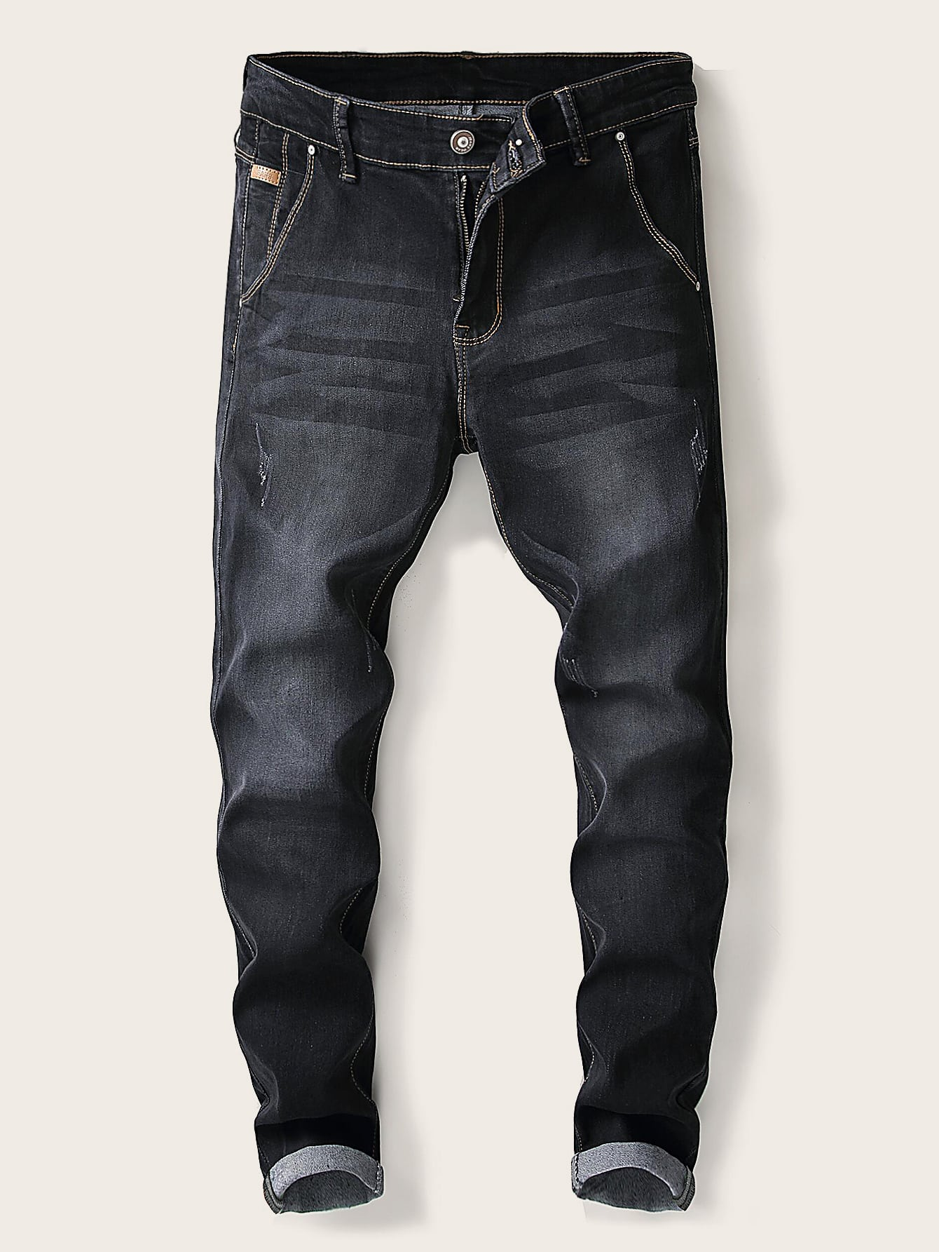 Men Plain Washed Skinny Jeans