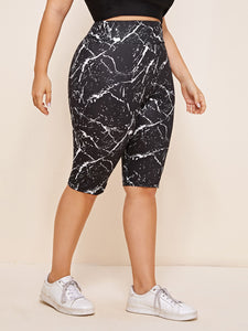 Plus Marble Print Wide Waistband Leggings