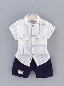Toddler Boys Plaid Shirt & Letter Patched Shorts Set