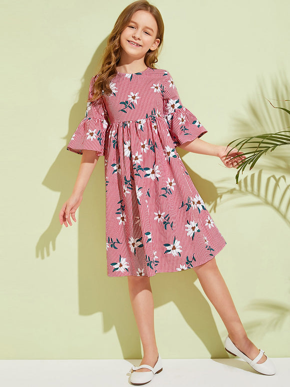 Girls Flounce Sleeve Striped & Floral Smock Dress