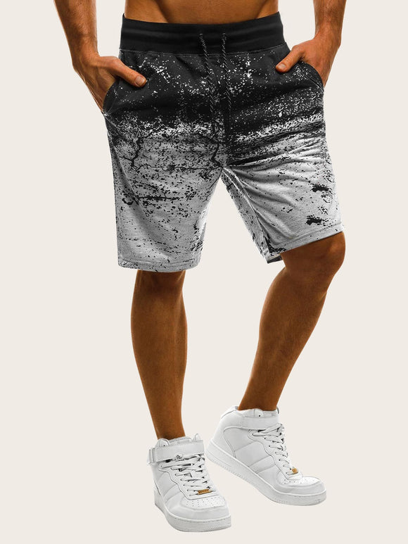Men Drawstring Waist Ombre Shorts