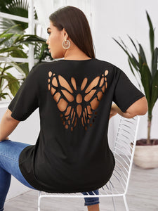 Plus Butterfly Hollow Out Back Tee