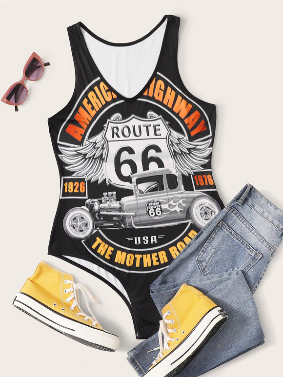 Plus Car And Letter Graphic Tank Bodysuit