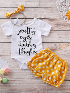 Baby Girl Slogan Graphic Bodysuit & Polka Dot Shorts & Headband