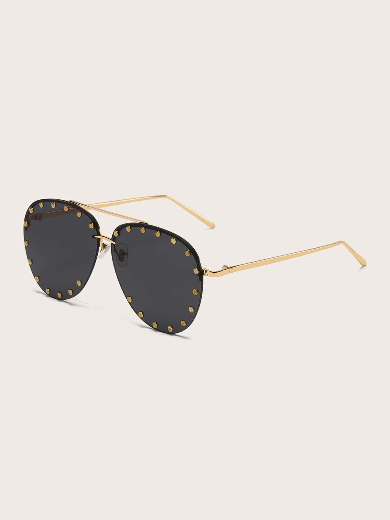 Studded Decor Aviator Sunglasses