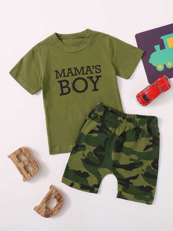Baby Boy Letter Graphic Tee & Camo Shorts