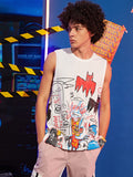 Men Doodling & Letter Graphic Tank Top