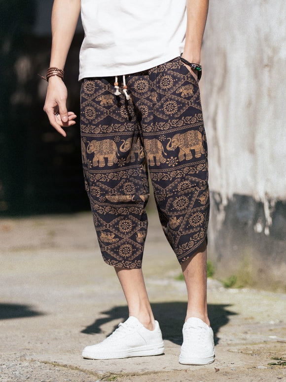 Men Aztec Print Drawstring Harem Pants