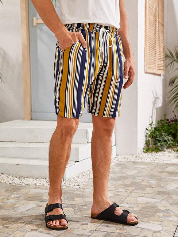 Men Multi-Color Vertical Striped Slant Pocket Shorts