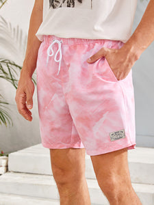 Men Tie Dye Patched Drawstring Swim Trunks