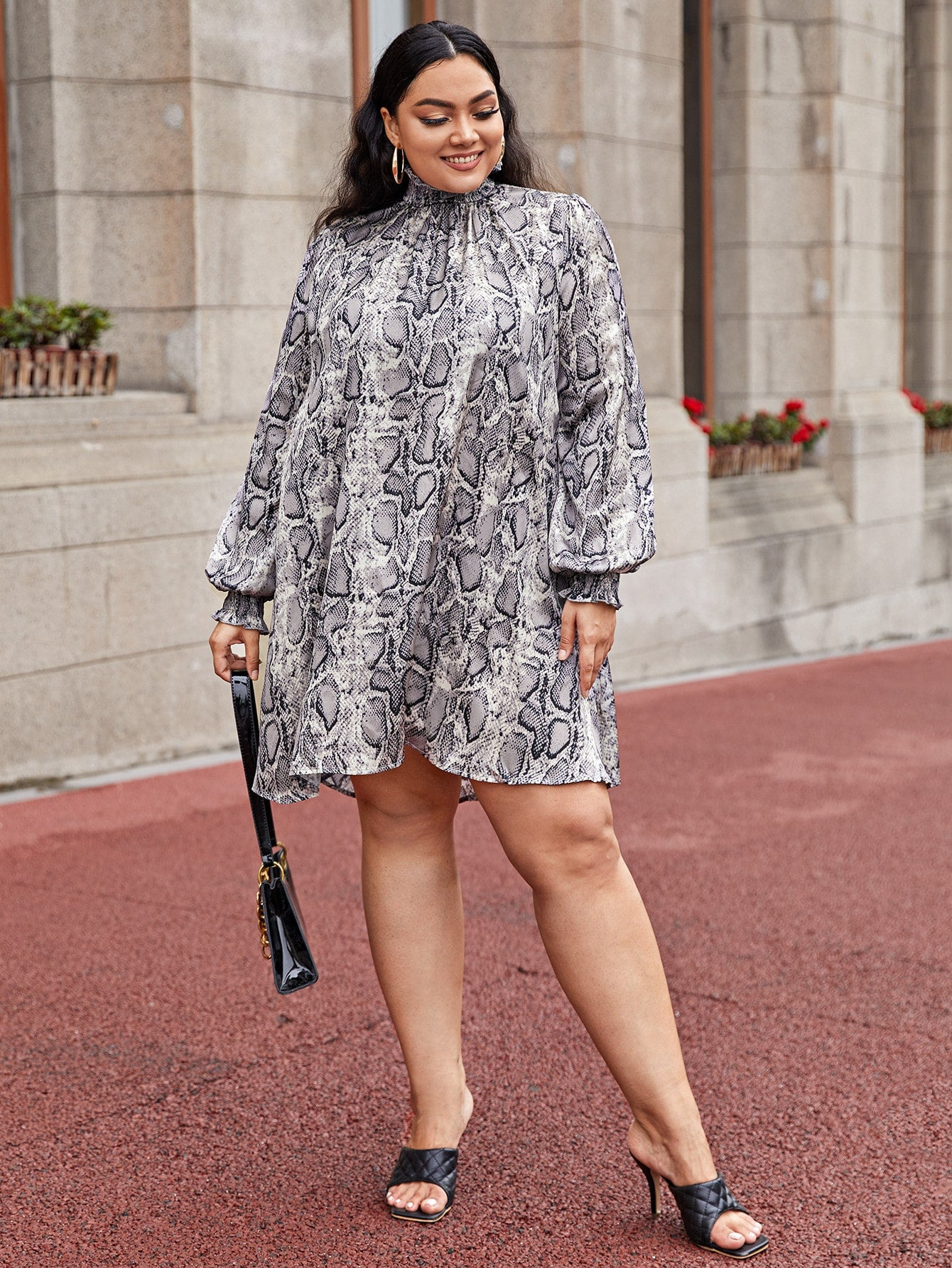 Plus Lantern Sleeve Shirred Neckline Snakeskin Dress