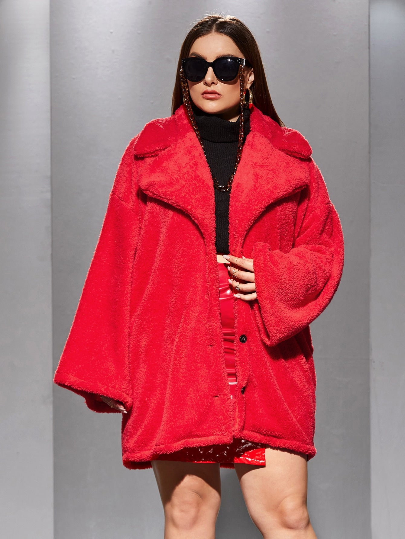 Plus Lapel Neck Button Up Teddy Coat