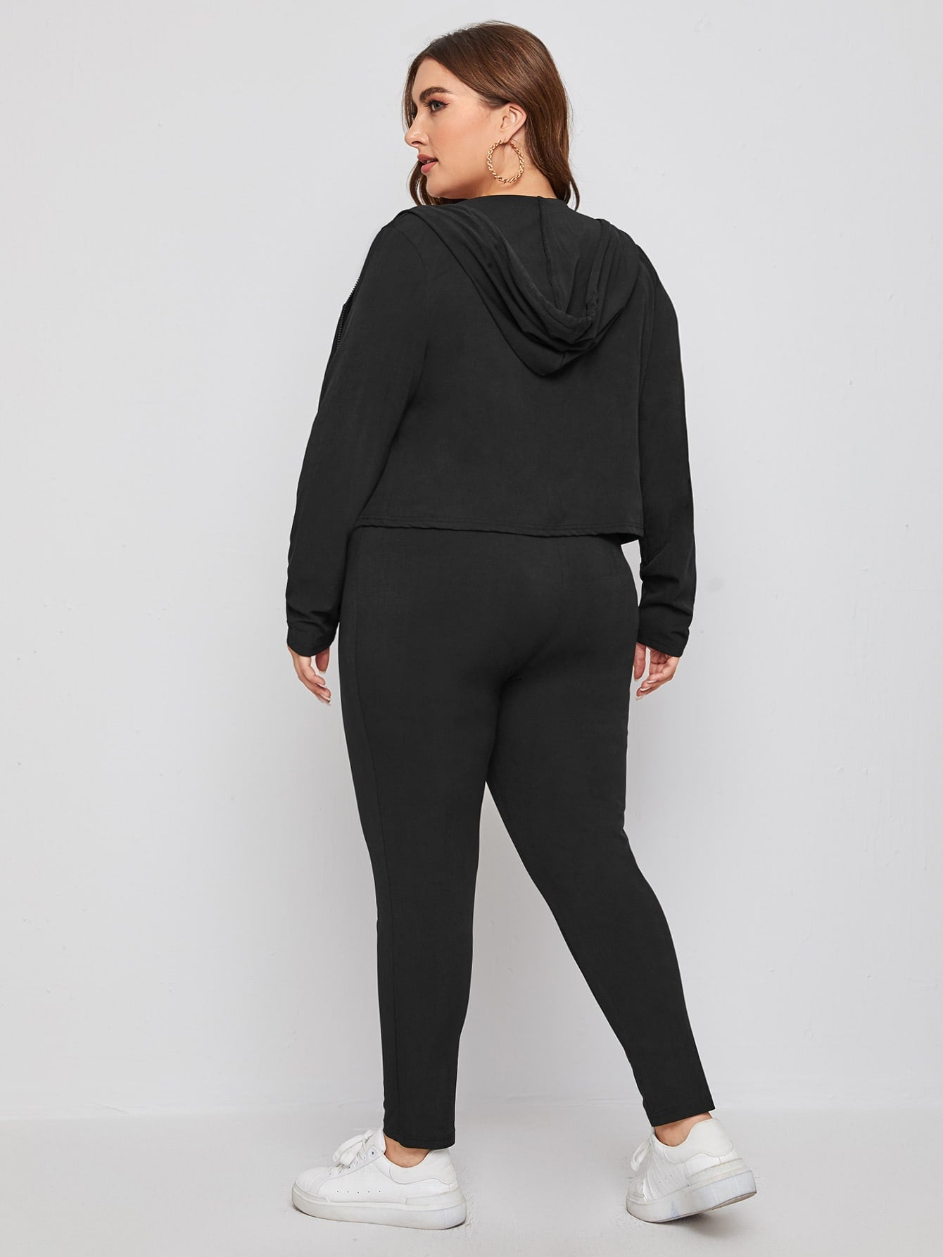 Plus Solid Zip-Up Hoodie & Leggings