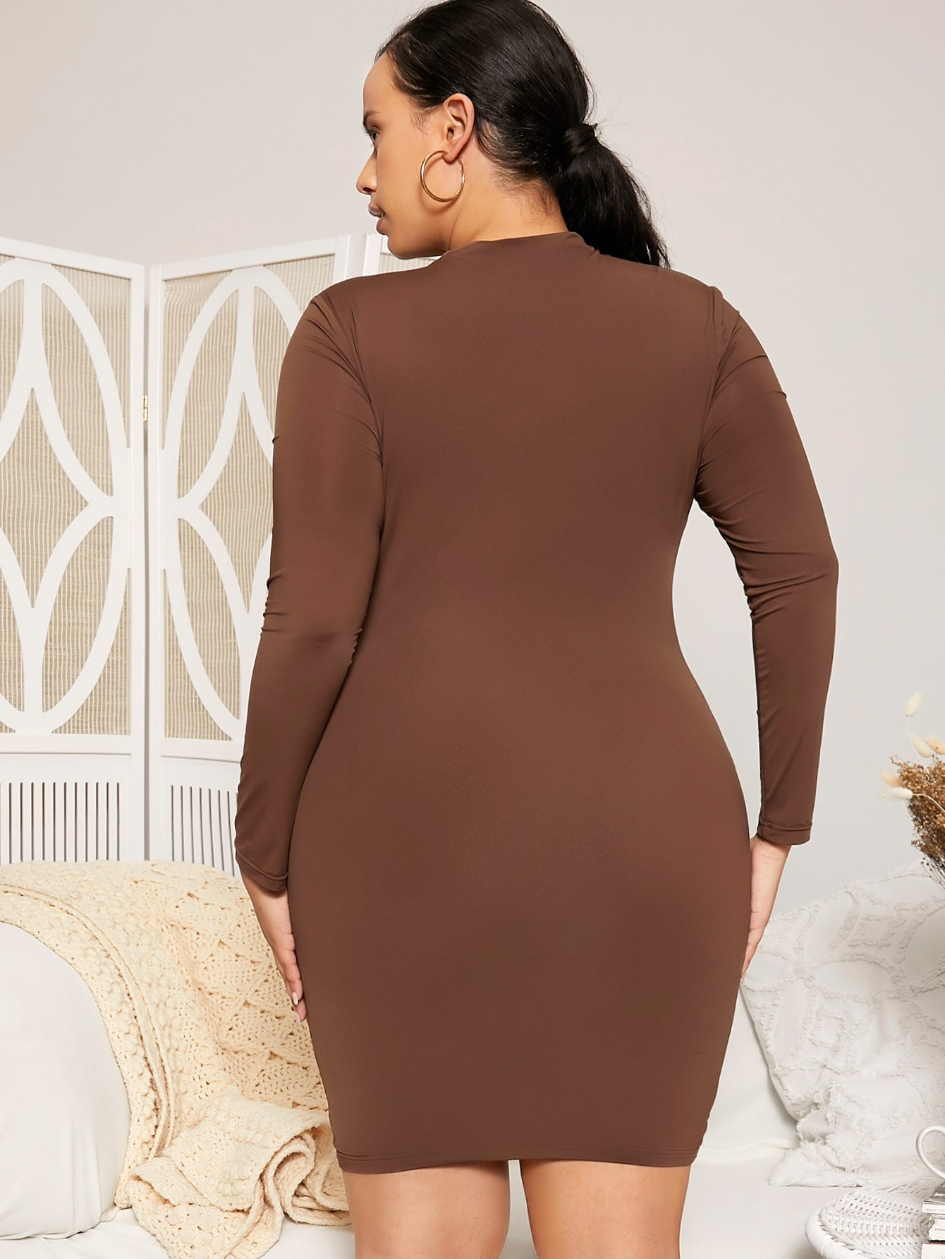 Plus Solid Bodycon Dress
