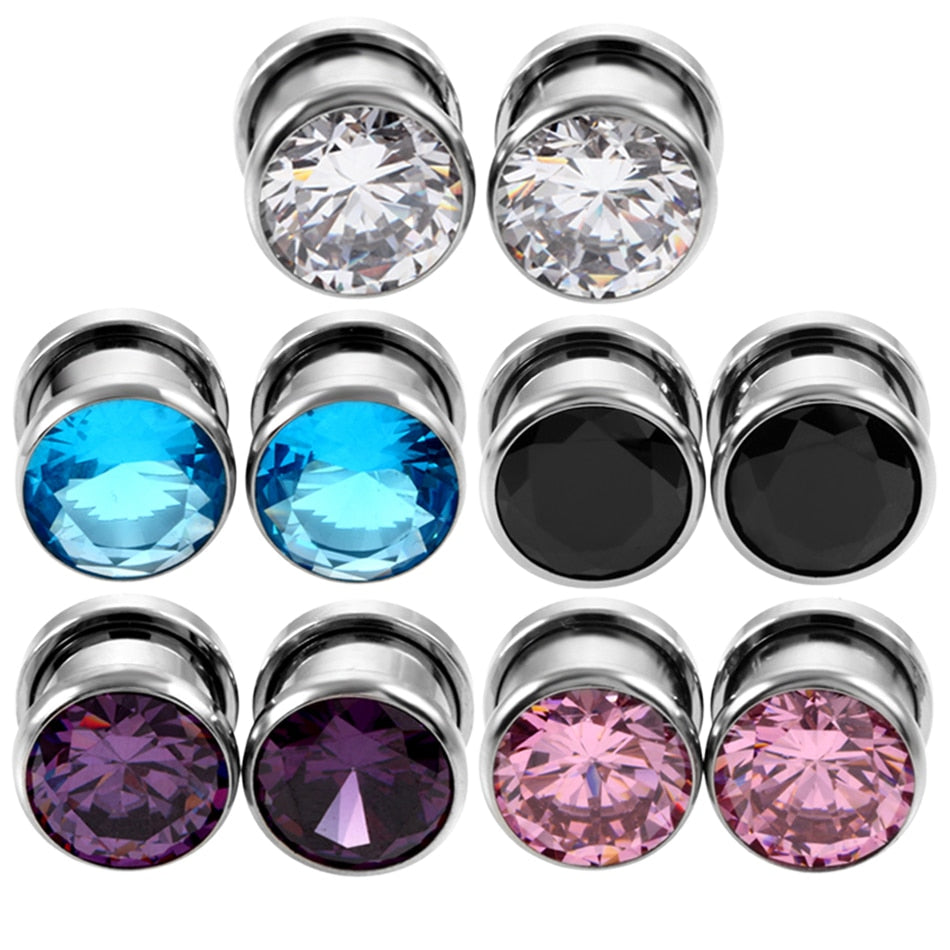 1Pair Crystal Ear Plug Tunnel Zircon Gauges-Sunshine's Boutique & Gifts