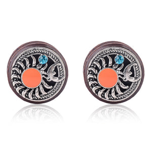 1Pair Double Flared Vintage Wood Sun Moon Ear Gauges-Sunshine's Boutique & Gifts