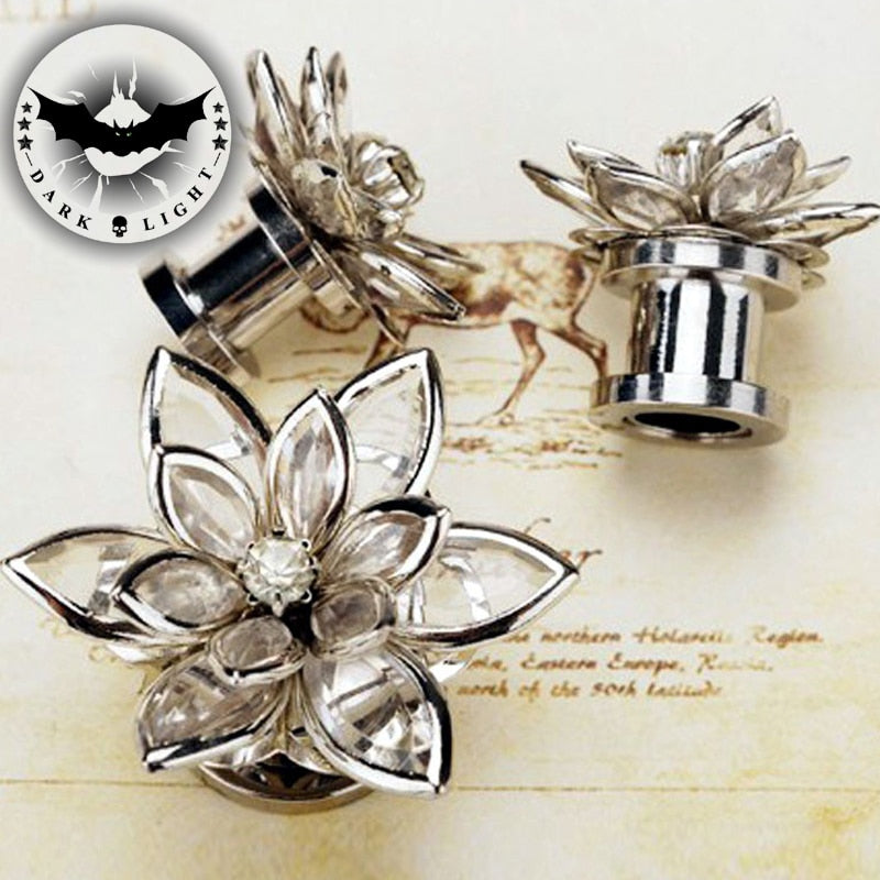 1Pair Screw 3D Crystal Flower Stainless Steel 6-16mm-Sunshine's Boutique & Gifts