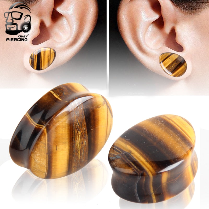 Organic Yellow Tiger Eye Stone Ear Gauge-Sunshine's Boutique & Gifts