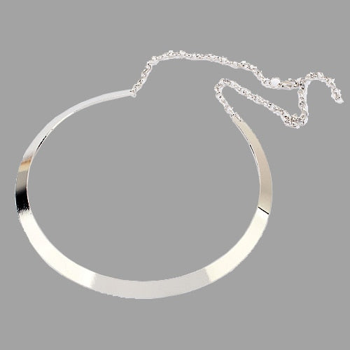 Retro Curved Mirrored Metal Collar Bib Choker-Sunshine's Boutique & Gifts