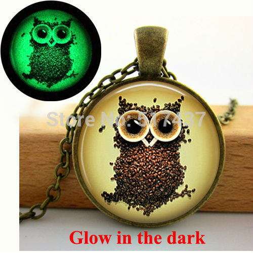 Glow in the dark Coffee Beans Owl Necklace-Sunshine's Boutique & Gifts