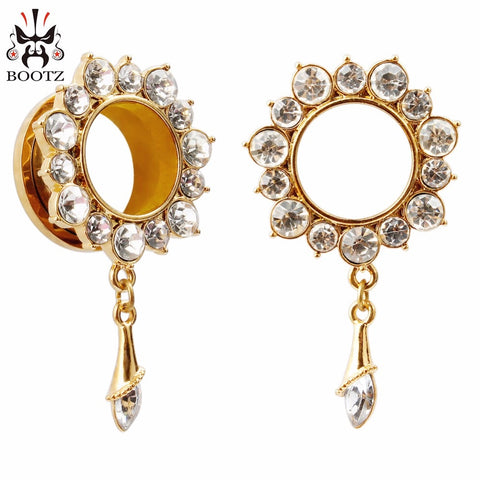 2pcs crystal dangle gold design plugs