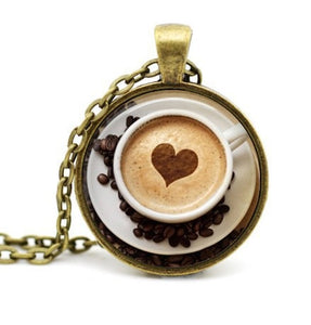 Cappuccino Pendant Heart Coffee Necklace-Sunshine's Boutique & Gifts