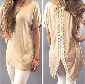 Short Sleeve Split Lace Blouse-Sunshine's Boutique & Gifts