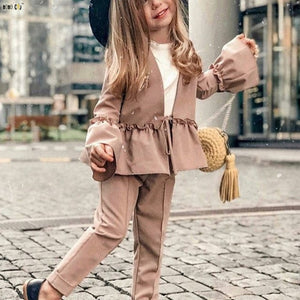 Girls Two Piece Coat & Pants Solid Flare Sleeve-Sunshine's Boutique & Gifts
