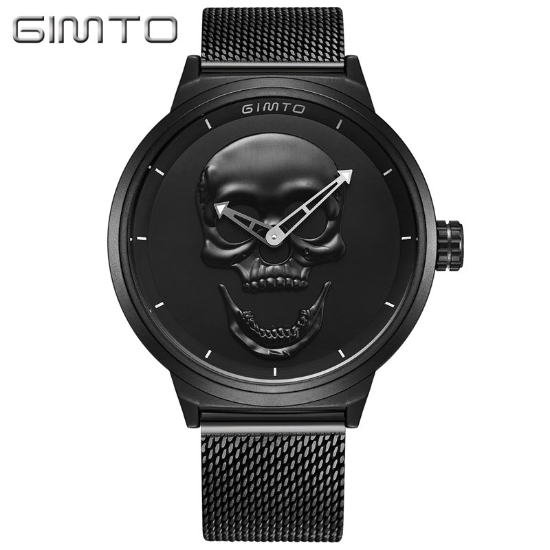Cool Punk 3D Skull Men Luxury Steel Gold Black Vintage watch-Sunshine's Boutique & Gifts