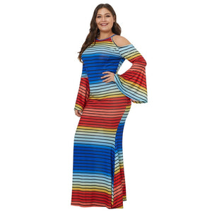 Plus Size Pullover Stripe Print Cold Shoulder Maxi Dress-Sunshine's Boutique & Gifts
