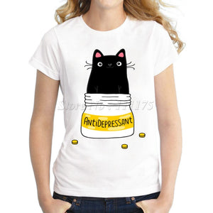 Doodle coffee and cat Design T shirt-Sunshine's Boutique & Gifts