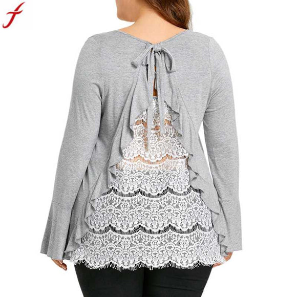 Back Lace Long Sleeve Casual Top-Sunshine's Boutique & Gifts