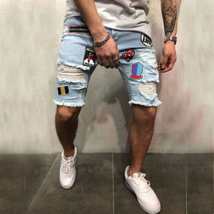 Men Ripped Distressed Slim Fit Elastic Stretch Denim Pants / shorts-Sunshine's Boutique & Gifts