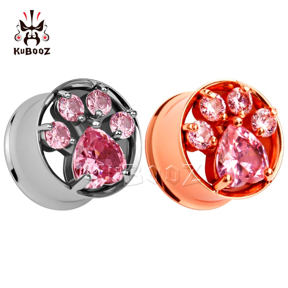 Rose gold / Silver stainless steel crystal ear plugs-Sunshine's Boutique & Gifts